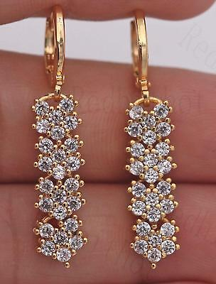 "18K Yellow Gold Filled 1.4"" Earrings Zircon Topaz Floral Stripe Drop Chain Girl"