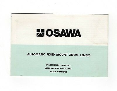 (R-0371) OSAWA Automatic Fixed Mount Zoom Lenses Foldout Instruction Manual