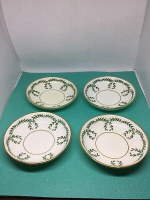 "Set Of 4 Mintons TIFFANY Antique Butter Pats 4"" Floral Garland w/ Gold Trim"