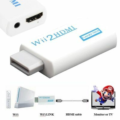 Wii Input to HDMI 1080P HD Audio Output Converter Adapter Cable 3.5mm Jack TV