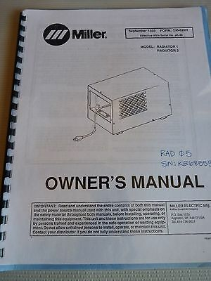 OM-622H Sept 1989 Miller Welding Electric Radiator For Model JK-48 Owners Manual
