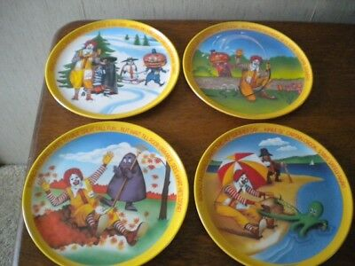 MCDonald's FOUR SEASONS PLATES,1977, set of 4, spring, summer, winter & fall VGC
