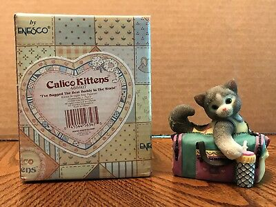 """Enesco Calico Kittens """"I've Bagged The Best Buddy In The World"""" Cat/Bag  488607"""