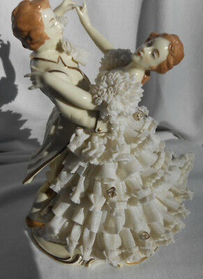 DRESDEN FIGURINE Dancing couple white porcelain lace man woman GERMANY rare