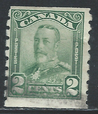Canada #161(1) 1928 2 cent green King George V Scroll PERF 8 COIL Used CV$5.00