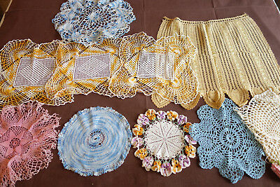 Lot of 10 Vintage Colorful Hand Crocheted Doilies Runners Scarf A