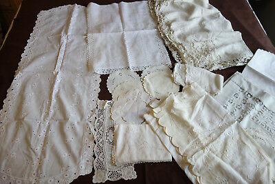 Lot of 15 Vintage Hand Crocheted Lace Doilies Runners Scarf F