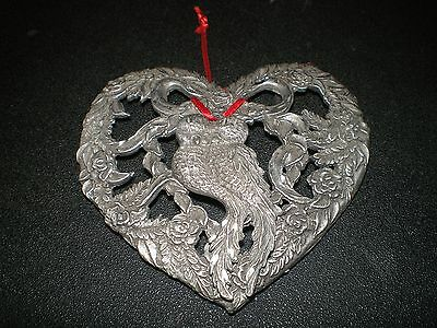RAWCLIFFE PEWTER Heart Potpourri Jar Candle Topper Lovebirds Christmas Ornament