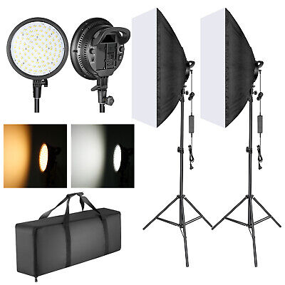 48W Dimmable LED Light Head w/ LightStand & Softbox Lighting Kit for Photography