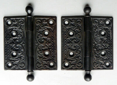 Antique 1890-1910 Art Nouveau Iron Door Hinges Foliate Scroll Fleur-de-lis 4X4
