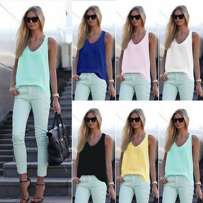 New Summer Womens Ladies Vest Tops Plain Colors Camisole Sleeveless Tops Blouse