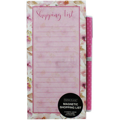 Floral Magnetic Shopping List Pad with Pen, Stationery, Brand New
