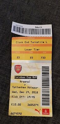 ARSENAL v TOTTENHAM HOTSPUR 19/12/18 USED TICKET CARABAO CUP LEAGUE CUP  SPURS