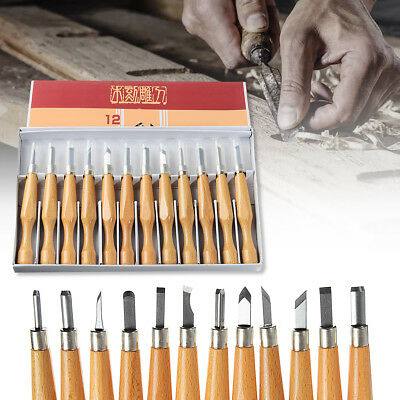 12Pcs Wood Carving Set Whittling Sharpening Roughing Chisels Woodworkers Tools