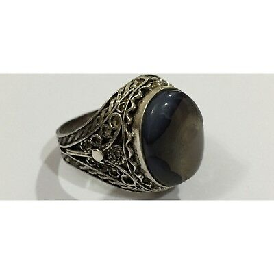 Nice Silver Yemeni Gray Aqeeq Agate Ring Rare For Men 7.3 GM Size 10 عقيق يماني.
