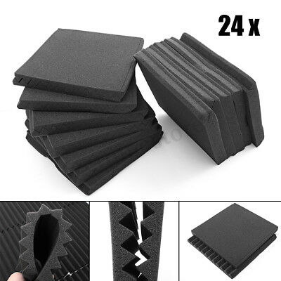 """24 Pack Acoustic Foam Panel Wedge Studio Soundproofing Wall Tiles 12"""" X 12"""" X"""