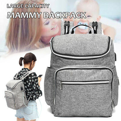 4In1 Large Backpack Mammy Baby Diaper Bag+ USB Port +Changing Pad+Bottle Sleeve