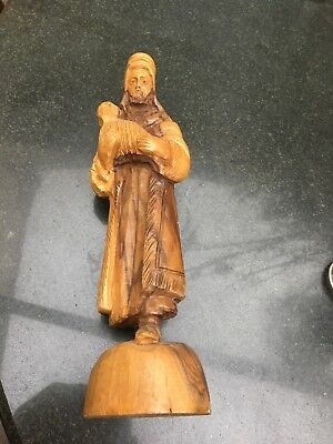 Carved Wooden Shepherd Could Be From A Nativity Scene 10 Inches Tall Olive Wood?