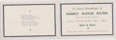 IN MEMORIAM CARD 4 SIDES KIRK HAMMERTON DALTON d 1897 GOOD CONDITION
