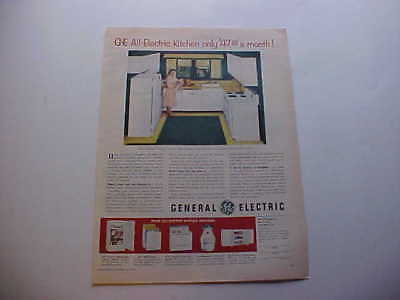 1953 GE GENERAL Electric Refrigerator, Stove, Dishwasher, Cabinets-vintage  53 ad
