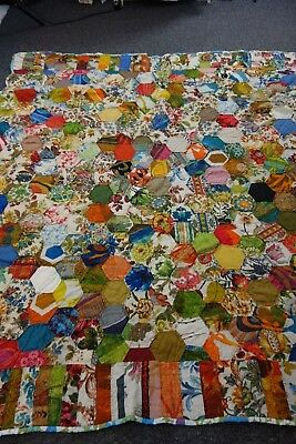 1960's Quilt-HONEYCOMB HEXAGONS Pattern-VG- 67x71- BRIGHT,CHEERFUL VINTAGE- SALE