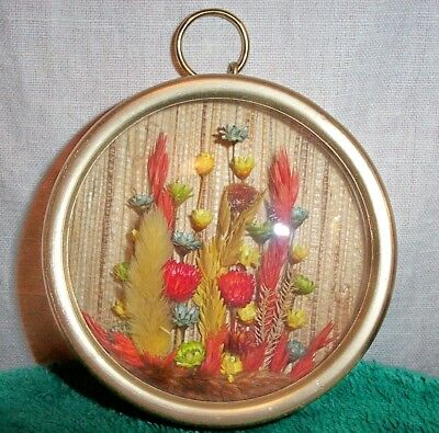 Dried Flowers Arranged Under Glass Reed Wove BackDrop Gold Metal Frame#1472-DOFL