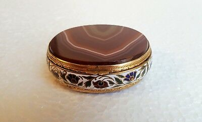 Fine French 19th Century Gilt Bronze & Champleve Enamel and Agate Box, Oval Form