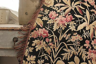 CURTAIN Antique French 1880 bed hanging drape LARGE  trim passementerie BLACK