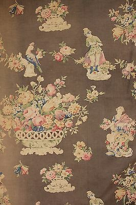 Curtain Antique English or American fabric circa 1900 romantic cottage style