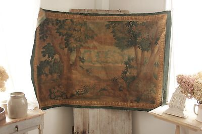 Tapestry Antique French painted 1800's Aubusson style wall hanging rare textile