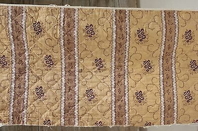 Antique quilted valance textile c1820 madder brown roller printed textile