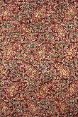 Quilted Antique French Fabric Provencal c1810 Indigo resist paisley hand printed