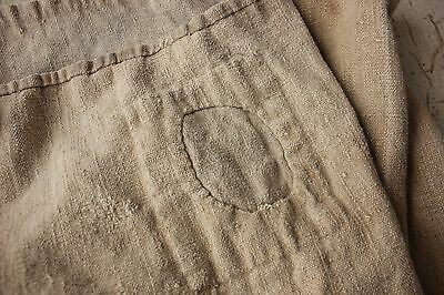 Antique French GRAIN SACK olive bag early 18th C  PRIMITIVE TIMEWORN OLD