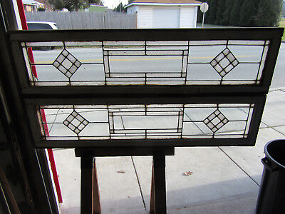 ~ PAIR ANTIQUE STAINED GLASS TRANSOMS SIDELITES WINDOWS ~ 17 x 66 ~ SALVAGE ~