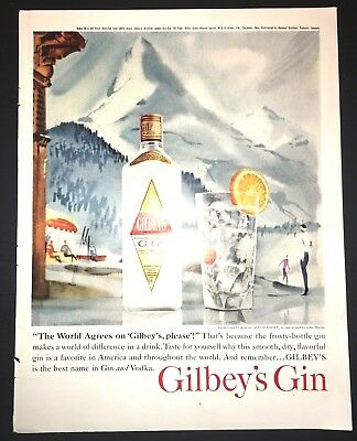 Life Magazine Ad GILBEY's GIN and L&M Cigarettes 1961 Ad Back Cover