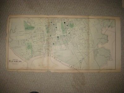 Antique 1873 Flushing Queens New York Handcolored Map Orphan Asylum Rare Nr