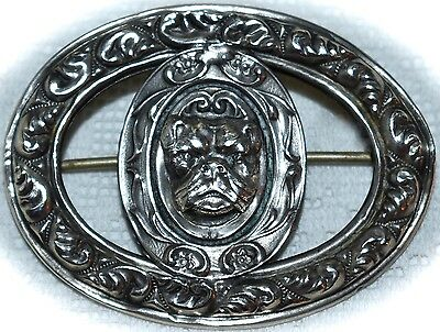 Fabulous Antique *STERLING* Repousse ***English Bulldog*** Victorian ~BROOCH~