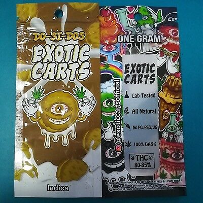 Exotic Carts vape packaging. 10 flavours x 5 of each. 50 packets