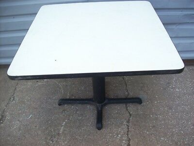 """Restaurant Equipment 35"""" SQUARE TABLE TOP WITH CAST IRON BASE White Vinyl Top"""