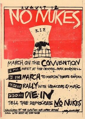 """1980 Democratic Convention """"NO NUKES"""" Die In Protest Poster"""