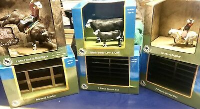 Big Country Farm Toy Lot Including Mutton Buster, Lane Frost, Black Baldy Cows