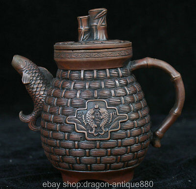 "6"" Marked Old Chinese Purple Bronze Fish Bat Bamboo Handle Wine Tea Pot Flagon"
