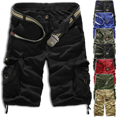 Mens Cargo Shorts Combat Work Summer Pockets Army Casual Pants Trousers Sz 29-36