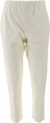 Susan Graver Chic Coastal Stretch Pull On Crop Pants Comfort White 4 NEW A263821