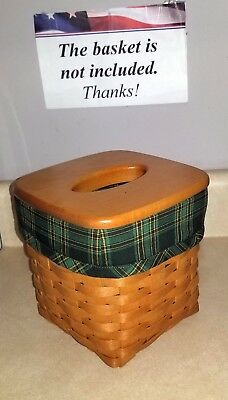Tall Tissue Basket Liner from Longaberger Green Traditions Plaid fabric! New!