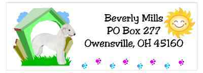 Bedlington Terrier return address labels waterproof dog house design