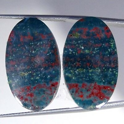 22.90Cts 100% Natural Blood Stone Oval Pair Cabochon Loose Gemstone