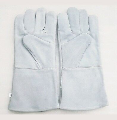 """Pack Of 5 Pairs White Welding Gloves Welder Fire Place Kevlar Stitched A+ 14"""""""