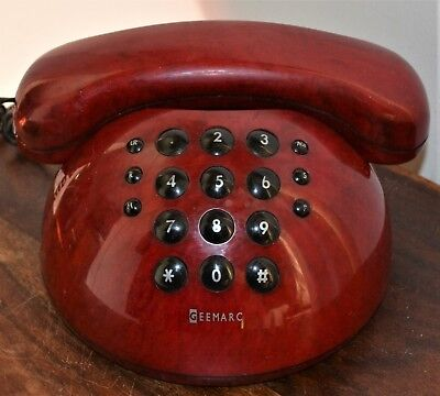 Vintage Geemarc Aloha Stylish Ruby Red Bubble Push Button Corded Home Telephone