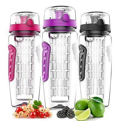 Fruit Infusing Infuser Water Bottle BPA Free Plastic Sports Detox Health 1000ml
